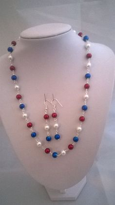 Handmade Patriotic Jewellery Set Red White and by K8tieSparkles