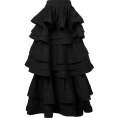 Rosie Assoulin three layer ruffle skirt ($8,145) ❤ liked on Polyvore featuring skirts, black, layered ruffle skirt, frill skirt, layered skirt, ruffle skirt and flounce skirt