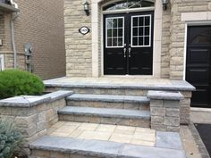 "Can you say ""Curb Appeal"" with a custom stone step entranceway. Flagstone, Patio Design, Curb Appeal, Gardening, Canning, Landscape, Outdoor Decor, Home Decor, Courtyards"