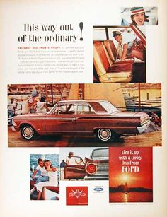 1962 Ford Fairlane 500 Sports Coupe original vintage advertisement. Available with the optional Challenger 260 V8 engine.