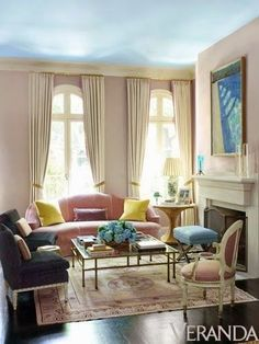 The colors here are so very not for me; but I really like everything else here - it's balanced, cozy but open, awesome window treatments.