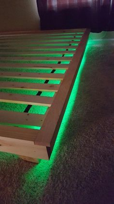 I'm back up to part the simple DIY Platform Bed that I made for my son :) If you missed the release Plans for the Planked Headboard, you can check them out HERE! I proverb a platform bed in a West Elm catalog and loved how chunky the base and pl Diy Headboard With Lights, Bed With Led Lights, Bed Lights, Wood Headboard, Night Lights, Headboard Ideas, Led Light Bed, Lit Plate-forme Diy, Low Bed Frame