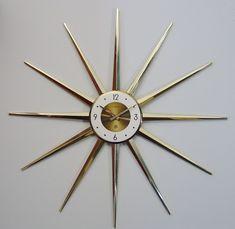 Vintage Starburst Wall Clock Sunburst Atomic Modernist Spike Mod Mid-Century Modern -