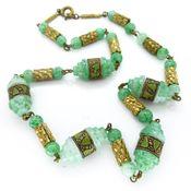 Image of Vintage Czech Art Deco 1930s Peking Glass Enamel Panel Glass Bead Necklace