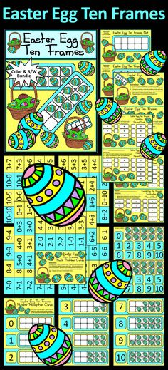 Easter Egg Ten Frames Math Center Activity Packet: Gives your students a fun and festive way to practice their math addition and subtraction facts in a hands-on way!  Contents Include: * Student Math Work Mat * Easter Egg Ten Frames Math Instruction Set * Number Cards * Easter Egg Math Counters * 130 Math Problem Cards * Number Recognition Cards * Math Record Sheets - Addition & Subtraction  #Easter #Egg #Math #Activities #Teacherspayteachers