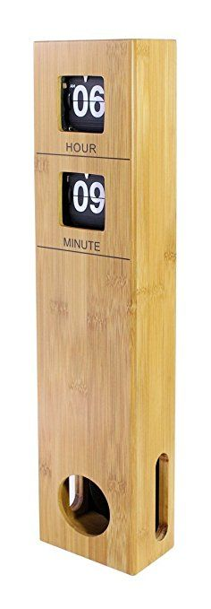 """Modern│Sleek│Sophisticated│Minimalist Large Tall Pendulum Wall Flip Clock Quality Bamboo Made Case Battery operated, Quiet Wall Clock - Wood, 18.9""""x4.09""""x2.3""""│Valentine's For Him/Her"""