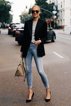 3a59cecb6 Blonde Woman Wearing Ralph Lauren Polo Black Blazer Grey Tshirt Denim  Skinny Jeans Black Heels Outfit