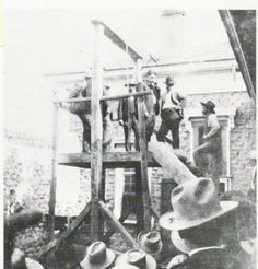 """Graham County Sheriff Jim Parks supervises the execution of Arizona outlaw Augustine Chacon in November of 1902. Captured by Arizona Ranger Captain Burt Mossman, Chacon was sentenced to hang for a series of robberies and murders along the border. His final words on the scaffold were allegedly """"this is the greatest day of my life!"""""""