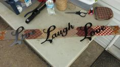 Peice  of pallet....old scrapped  fabric n lettering!!!!
