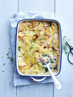 Ovenschotel met zalm, spinazie en aardappel