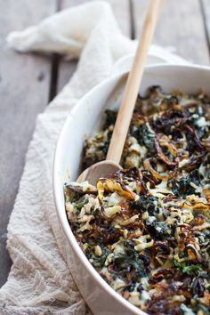 // Kale and wild rice casserole.