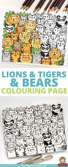 Fun kawaii style Lions and Tigers and Bears colouring page! Download this free colouring sheet and color in using pencils, crayons or markers. This is a fun coloring activity for kids and grown-ups alike! via @kate_hadfield