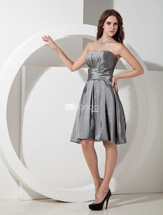 Cute Silvery Taffeta Knee Length A-line Bridesmaid Dress. Cute  flirty dresses are very popular for wedding party attire and one look at this one shows why. It features a lovey strapless bodice with a pleated texture and a cinched waist with a wide waistband. The A-line skirt is ful.. . See More Bridesmaid Dresses at http://www.ourgreatshop.com/Bridesmaid-Dresses-C926.aspx