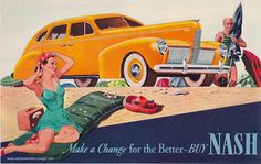 Sunny, summery, beautiful 1930s beach style care of a 1938 Nash car ad. #vintage #summer #cars #ads #Nash #swimwear