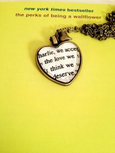 Perks of Being a Wallflower We accept the love we think we deserve Antiqued Bronze Heart Book Page Necklace