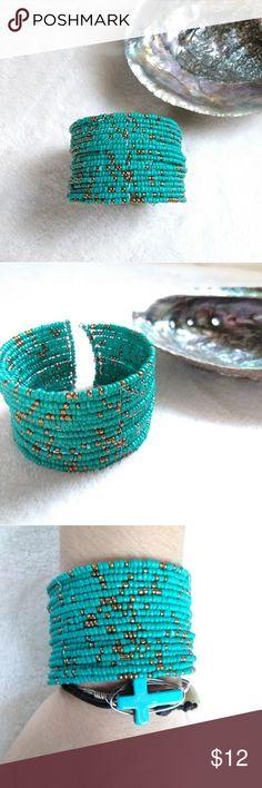 Boho Beaded Bangle Bracelet Turquoise & gold glass beaded bangle bracelet.  One size fits all.   Boho, bohemian, gypsy, tribal, hippie, accessories, trending, fashion jewelry Zoey Zoso Jewelry Bracelets