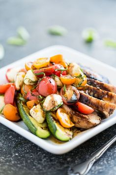Balsamic Grilled Chicken topped with Caprese Salad   GI 365