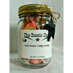 Cowhide Black Licorice Caramel Taffy Filled Mason Jar