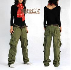 HD-12 Baggy camouflage pants for women overalls Multicolour hip hop pants Red khaki Cargo pants women joppers Military overalls