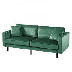 Sofa Edina Samt (3-Sitzer) - Meeresgrün Pouf Cuir, Textiles, Love Seat, House, Furniture, Collection, Home Decor, Pine, Products