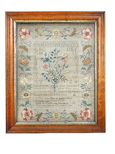 Sarah Webster 1800, worked in silk flowers within the alphabet and flowering vine, 41 x 33cm (16 x 33 in.) within bird's eye maple frame