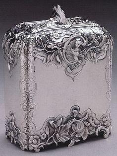 Antique Sterling Silver Tea Caddy by Paul de Lamerie, Tea Canisters, Tea Tins, Vintage Silver, Antique Silver, Vintage Box, Zinn, Teapots And Cups, Teacups, Cuppa Tea