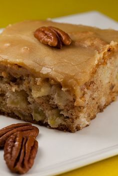 Fresh Apple Cake Recipe - 1 c vegetable oil 2 c sugar 3 eggs 3 c flour 1 tsp baking soda 2 tsp vanilla extract 1 c chopped pecans 3 c peeled and chopped apples Combine all ingredients, bake for 50 min Frosting - c butter 1 c brown sugar, packed c e Apple Cake Recipes, Baking Recipes, Apple Cakes, Cookie Recipes, Apple Sheet Cake Recipe, Green Apple Recipes, Just Desserts, Delicious Desserts, Yummy Food