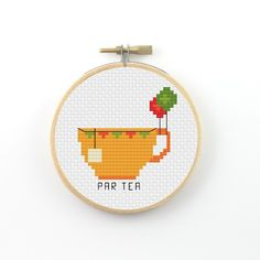 Par Tea Cross Stitch pattern tea pattern tea pun by ringcat