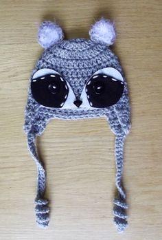 Macaraccoon crochet beanie by Crayyons on deviantART Crochet Beanie, Cute Crochet, Eye Details, Button Eyes, Crayons, Winter Hats, Deviantart, Gallery, Cowls