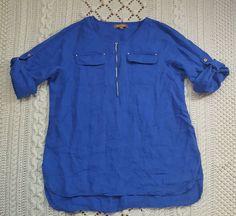 Ellen Tracy Womens Linen Top Sz L Blue Roll Tab Sleeve Zip Front Tunic #EllenTracy #Blouse #Casual