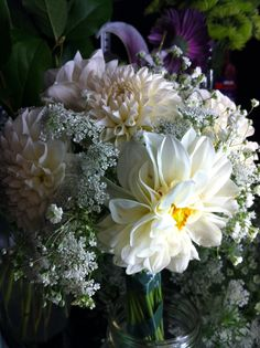 White Dahlia, Queen Ann Lace and Baby Breath Bridal Bouquet