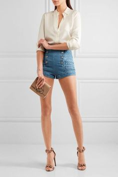 Pierre Balmain - Button-detailed Quilted Stretch-denim Shorts - Indigo