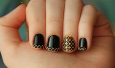Black Gold Nails Simple Black Nail Art Designs Supplies For Black Gold Nails, Black Nail Art, Black Nail Polish, Black Gold Jewelry, Polish Nails, Love Nails, How To Do Nails, Pretty Nails, Dream Nails