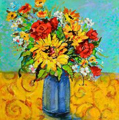 Damask Sunflowers by Sharon Furner Oil ~ 20 x 20