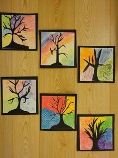 Käytin tästä työstä nimeä käyräpuu ja väriympyräoksat. Puu on siis tehty erilliselle mustalle paperille, se leikattiin ja liimattiin neliönmuotoiselle valkoiselle paperille ja siihen sitten puuvärillä (paksuilla, hyvin väriä antavilla) kukin lohkoi haluamallaan tavalla lohkot, jotka sitten väritti väriympyrän värein. Kerrattiin siis pää- ja välivärit. Raamit liimattiin työhön ihan lopuksi. FB:n Alakoulun aarreaitta -sivustosta / Anne Sonkajärvi