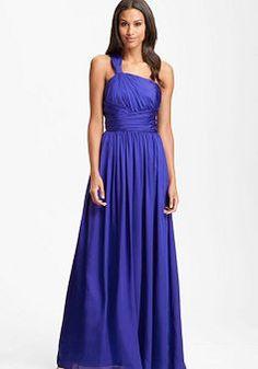 ML Monique Lhuillier Bridesmaids Twist Shoulder Satin Chiffon Gown Sz 2 Cute Blue Dresses, Cute Maxi Dress, Prom Dresses Uk, Chiffon Evening Dresses, Chic Dress, Occasion Dresses, Sexy Dresses, Evening Gowns, Bridal Dresses