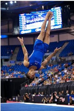 Danell Leyva tumbles on the floor exercise during the finals of the 2012 Visa Championships, the qualifying meet for the USA Gymnastics Olympic Trials.  Leyva finished second in the all-around competition.