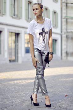 black/white/metallics outfit