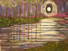 Acrylic painting - fireflies by moonlight