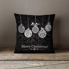 "Christmas Pillow - ""Black & white Decorations"" Pillow Case"