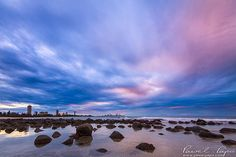 Burleigh Heads in Gold Coast at twilight.