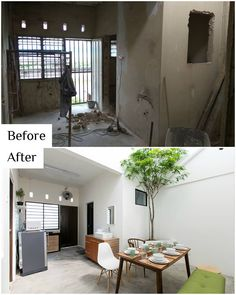 You Won't Believe What This Newly-Renovated House In Ipoh Used To Look Like! Architect Design House, House Design, Old Home Renovation, Apartment Renovation, Terrace House Exterior, Old Style House, Residential Architecture, House Architecture, Patio
