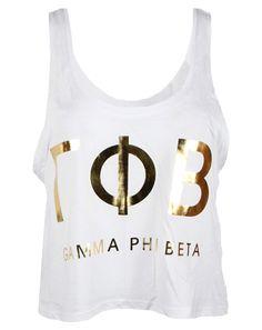 Gamma Phi Beta Gold Greek Letters Tank Top by Adam Block Design   Custom Greek Apparel & Sorority Clothes   www.adamblockdesign.com