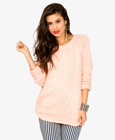 Textured Knit Longline Sweater | FOREVER21 - 2037132111