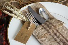 DIY Burlap Painted Ticking Stripe Utensil Holder~ Uncommon Designs
