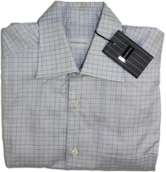 ERMENEGILDO ZEGNA MEN'S LONG SLEEVE SHIRT-COTTON-39/15.5-BLUE/YELLOW CHECK #ErmenegildoZegna