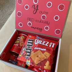 Care Package: You're RED-iculously nice Birthday Money, Cute Birthday Gift, Birthday Gift Baskets, Birthday Box, Happy Birthday, Creative Birthday Gifts, Birthday Crafts, Presents For Best Friends, Birthday Gifts For Best Friend