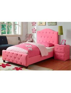 Pink Twin Bed Upholstered Headboard and Wood Frame Girls Bedroom Furniture Pink Twin Bed, Girls Twin Bed, Pink Bedroom For Girls, Pink Headboard, Pink Bedding, Headboard And Footboard, Girls Bedroom Furniture, Bed Furniture, Kids Bedroom