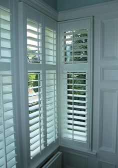 For the playroom – White Square Bay Window Shutters – rugcut Bay Window Bedroom, White Shutters, Interior Window Shutters, Bay Window Curtains, Bedroom Shutters, Blue Bedroom, House Blinds, Blinds For Windows, Patio Door Blinds