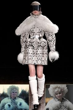 effie trinket catching fire black and white outfit - Google Search
